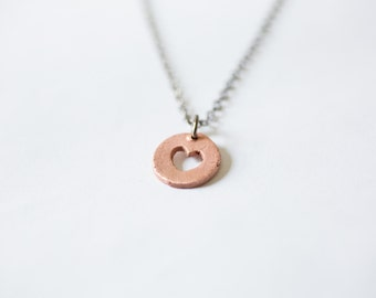 Love You With My Whole Heart - Copper Heart Necklace - Heart Cutout Necklace - Simple Petite Necklace, Everyday Wear, Mom Sisters Necklace