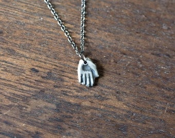 hand necklace - small hand necklace - sterling silver hand necklace - hand charm - hand jewelry - hand pendant - silver hand necklace hamsa