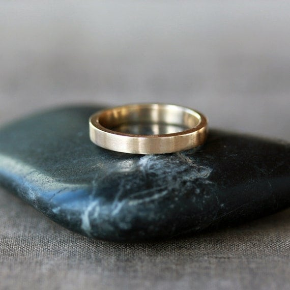 gold wedding band flat gold ring 14k yellow gold by