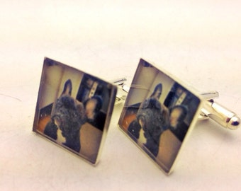 Custom silver photo cuff links 1 pair square or circle resin cufflinks Great keepsake memory father or groom GIFT