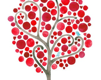 Unconditionally Art Reproduction Watercolour Painting Valentines Day Landscape Red Tree Art