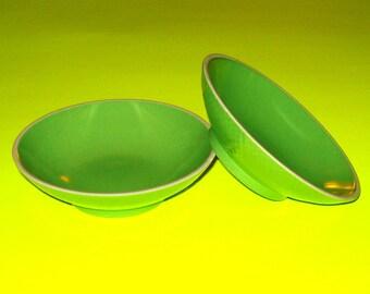 VIntage 1950s Green Ceramic Bowls - Set of 2