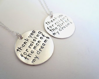 Set of 2 Thank You For Raising The Man and Girl of My Dreams - Mother In Law Set of Necklaces - Wedding Gift SET Bridal