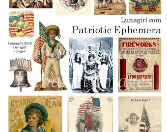 PATRIOTIC EPHEMERA digital collage sheet DOWNLOAD July Fourth Victorian Vintage Images Cards Independence Day American Flags Fireworks Kids