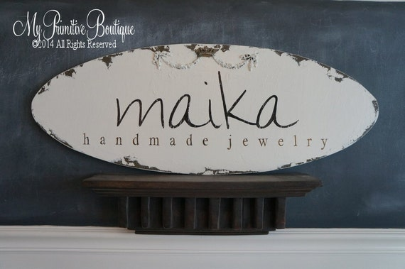 BUSINESS SIGN, Craft Vendor Sign, Vintage Advertising, Hand Painted Sign, No Vinyl,  Shabby Chic Decor