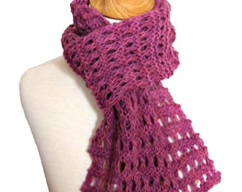 Easy Knit Scarf PATTERN and Tutorial - Heavenly Garter Lace Scarf DIY - Instant Download