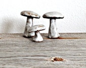 Little Brown Mushrooms in Stoneware, set of THREE-Made to Order