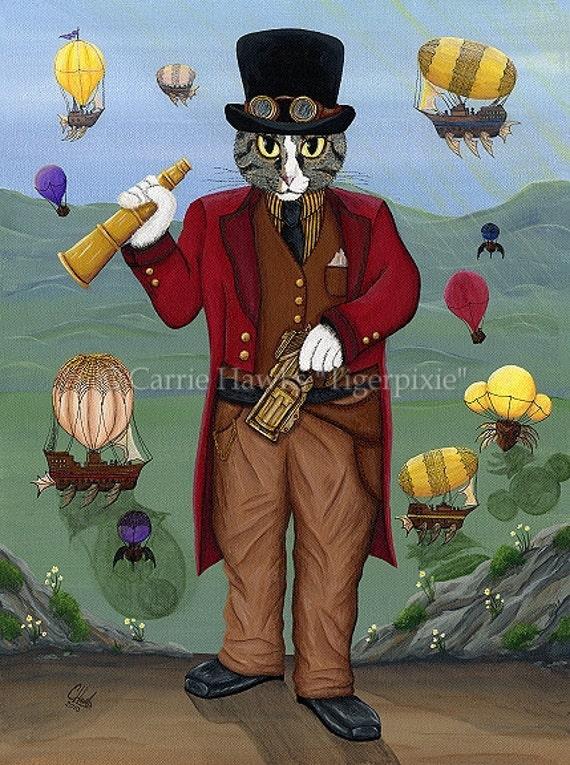 Steampunk Cat Art Victorian Gothic Air Ships Hot Air Balloons Fantasy Cat Art ACEO Mini Print