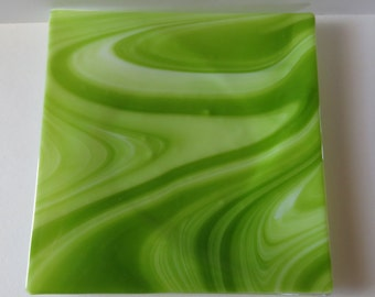 Dining and Entertaining, Handmade Fused Glass Dish, Green and White CGGE
