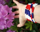 Vintage Beaded Necklace: Long Beaded Hand Knotted Red White and Blue 4th of July July 4th Flower Power Glass Beads 70s Hippie Boho Bohemian