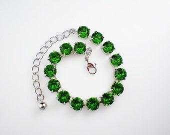 Fern Green Rhinestone Bracelet Emerald Green Swarovski Wedding Jewelry Bridesmaid Jewelry