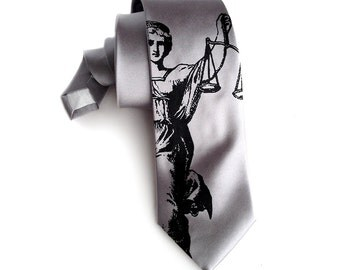 Scales of Justice Necktie. Law Office gift, lawyer gift, attorney gift, judge, law school, day in court. Men's Blind Justice tie.