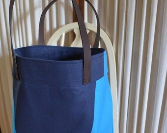 Blue Colorblock Tote Bag