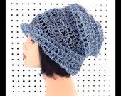 Light Blue Crochet Hat Womens Hat, Summer Hat for Women, Crochet Beanie Hat, Light Blue Hat, OMBRETTA Beanie Hat