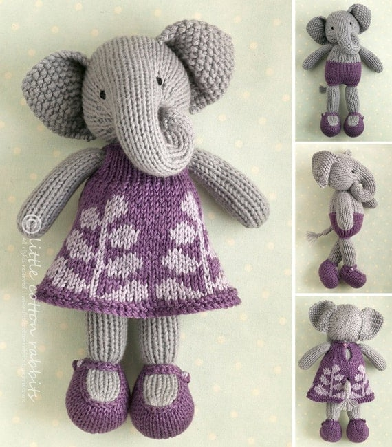 Easy Elephant Knitting Pattern : Toy knitting pattern for a girl elephant in a frondy frock