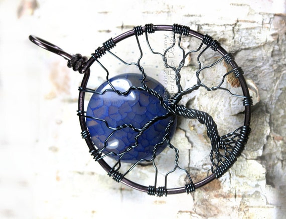 Blue Moon Tree of Life Pendant Fire Crack Agate Full Moon Wire Wrap Gunmetal Hematite Necklace