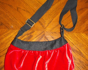 Red Velvet Fabric Large Buttercup Bag