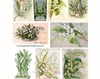 Vintage Lily of the Valley - Muguet - Digital Collage Sheet - 1195 - Instant Download - Vintage Postcard - Clipart - Vintage Images