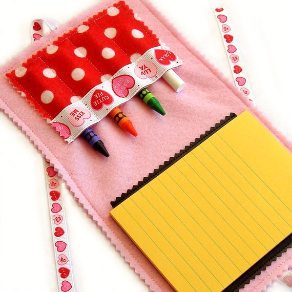 Crayon Wallet & Chalk Mat Art Folio: Valentine Hearts - arts and crafts coloring travel toy / travel game - art fun on the go - 20% Off Sale