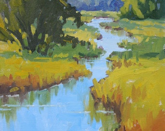 Marsh at Daybreak - 14 x 11 Inch Original Impressionist Style Landscape Painting of a Marsh - Wetland Painting - Living Room Art