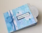 Scrapbook Album Mini Chipboard Winter Theme Blue White Snow Fun Stocking Stuffer