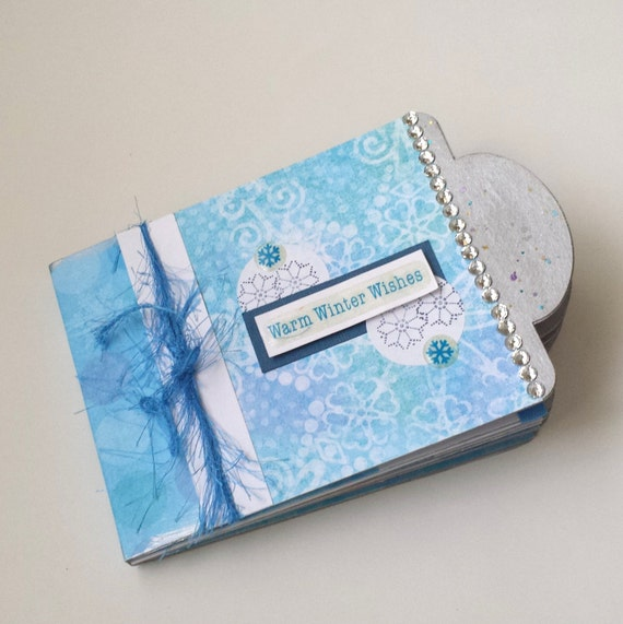 Scrapbook Album Mini Chipboard Winter Theme Blue White Snow Fun Stocking Stuffer