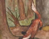 Original Art - The Five of Foxes - Watercolor Fox Painting -The Badgers Forest Tarot