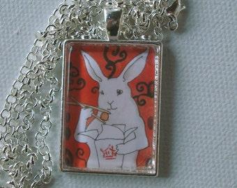 Take Out  - Unique Handmade Rabbit Pendant