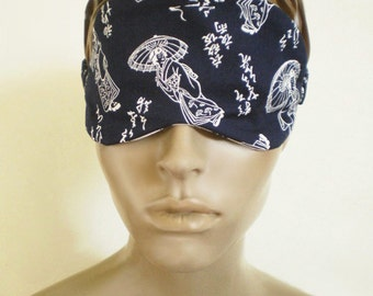 Navy Japanese Sleep Mask Geisha And Script Asian Print Cotton Handmade Eye Mask With Rose Contrast
