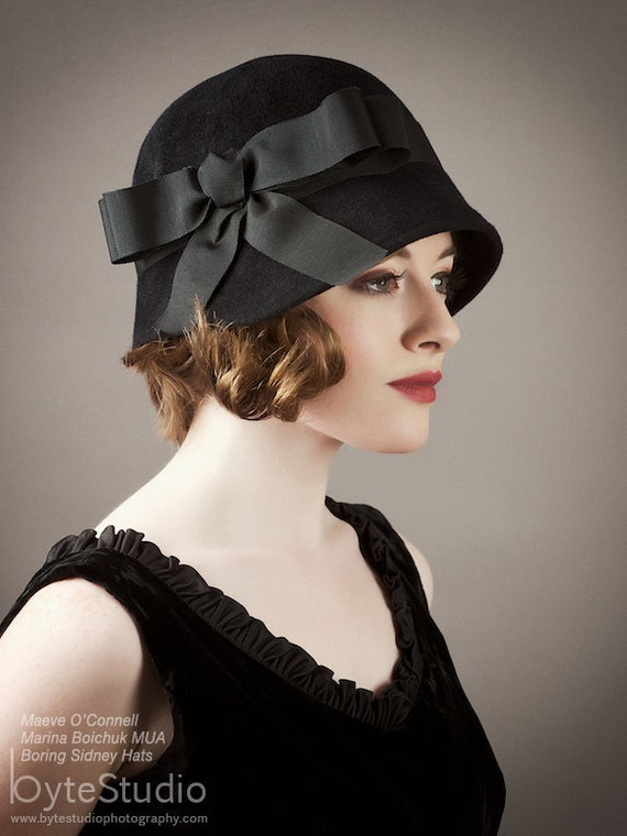Cloche Hat - Black Velour Cloche
