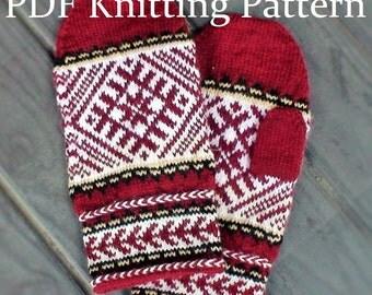 PDF Knitting Pattern - Latvian Mittens