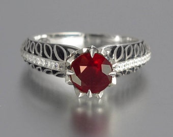 Ruby & Diamonds Engagement Ring EDELWEISS 14K gold