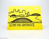 Pittsburgh Christmas Pun Card, single card, SEAS-YINZ GREETINGS