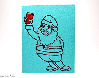Santa Beer Christmas Card, single gocco printed card