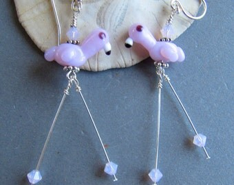 Cornerstoregoddess Lampwork Glass Pink Flamingo Earrings