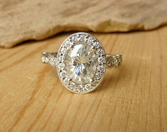 Oval Moissanite and Diamond Halo, Scalloped Ring