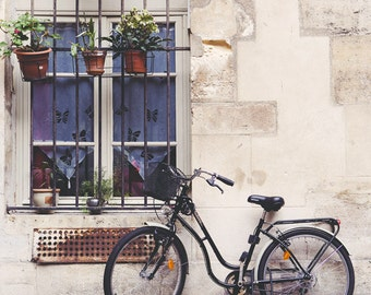 "Bicycle Art, Paris Photography, Bike Print, Paris Art Print, Cobblestones, Paris Decor, White Wall Art, French Home Decor ""Le Velo"""