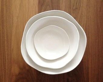 MADE TO ORDER  - Petal Nesting Bowl Set in Satin White