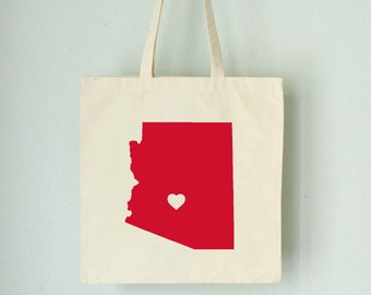 ARIZONA LOVE TOTE Phoenix red state silhouette with heart on natural bag