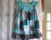 Reserved for MJStash    Black and Turquoise Patchwork Print Dress Size Girl 4 With Ruffle Hem and Armhole Ruffle