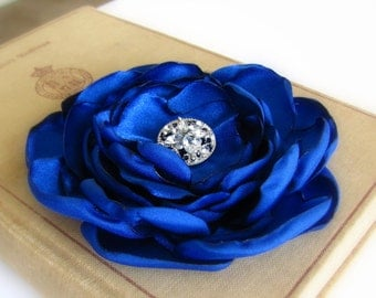 Royal Blue Flower Hair Clip.Brooch.Pin.Headpiece.Bridesmaid.Corsage.Hair Accessory.Satin Flower.hair piece.wedding.fabric flower.fascinator