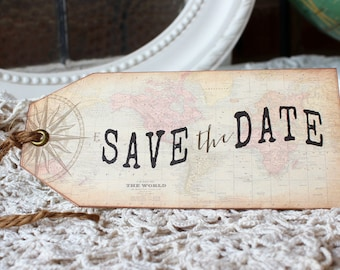 Vintage Destination Wedding Save the Date  Hinged Shipping Tags Antique World Map and Compass Set of 10