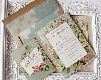 vintage floral wedding invitation - pink and gold wedding - garden wedding - romantic floral invite - pink roses - mint green pink wedding