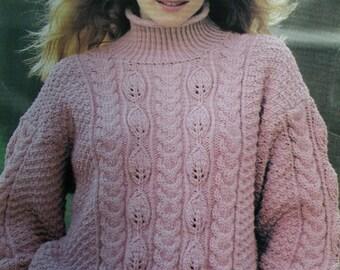 Sweater Knitting Patterns Away & At Home Beehive Patons 656 Women Chunky Weight Yarn Turtleneck Tunic Aran Paper Original NOT a PDF