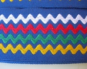 "Vintage Trim BLUE Rick Rack Woven 2 yards 2"" wide white green yellow blue zig zag stripes"