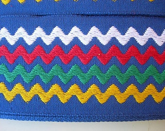 "Vintage Trim BLUE Rick Rack Woven 2 yards 2"" wide white green yellow blue zig zag stripes New Condition"