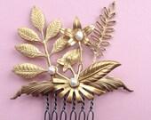 Brass Fleur Comb - Fleur de Foret Comb - Fresh Water Pearls - Anthropologie - Prom - Hair Accessories - Gold Flower Comb - Wedding Hair