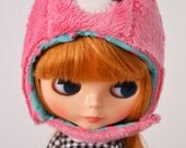 Kawaii pink bear helmet for blythe