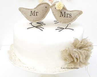 Burlap Birds Wedding Cake Topper Mr and Mrs or Mr Mr or Mrs Mrs This item is made to order allow 10 in working days plus delivery time