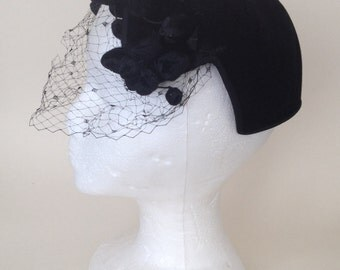 """Vintage black felt whimsy """"birdcage"""" hat - poms and veil"""